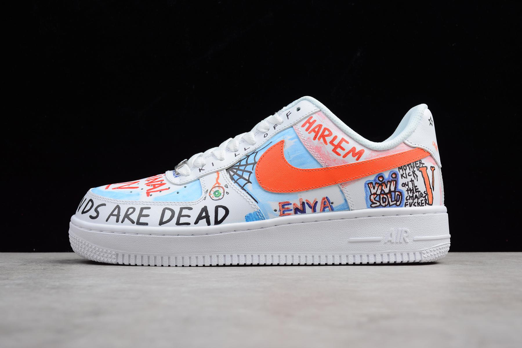 d4c322372c55c Custom Pauly x Vlone Pop Nike Air Force 1 Low Graffiti Harlem White  AA5360-100