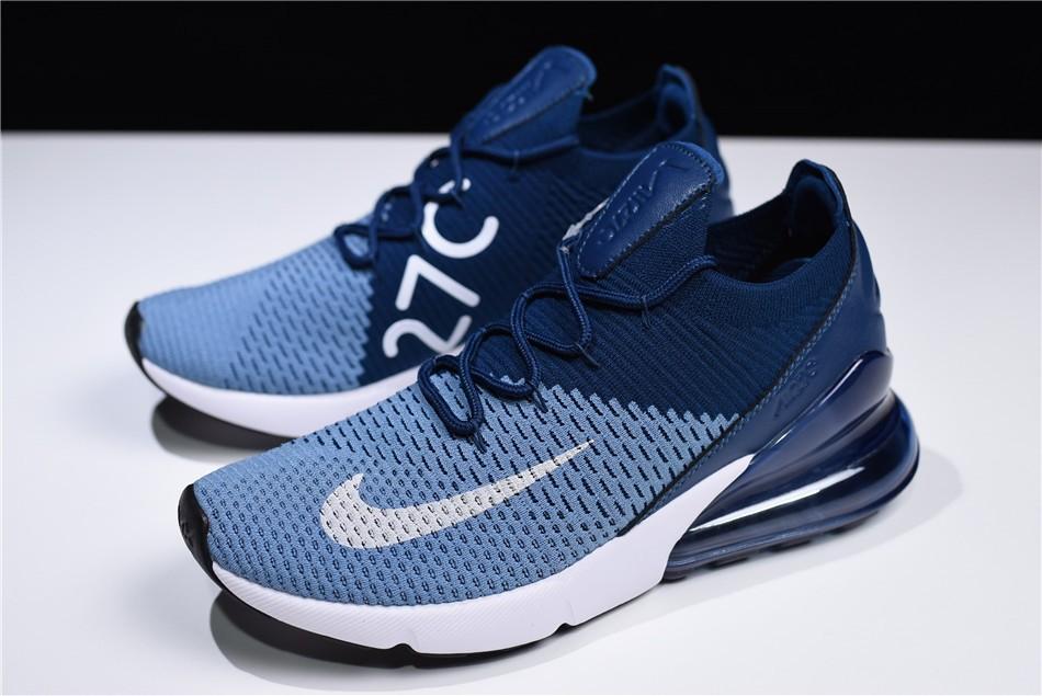 Men S Nike Air Max 270 Flyknit Work Blue White Brave Blue Ao1023 400