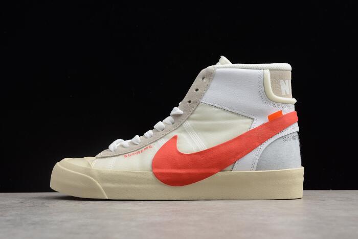 cheap for discount 6030a 09fbc Supreme x OFF-White x Nike Blazer Studio Mid Sail/White-Muslin-Red  AA3832-006