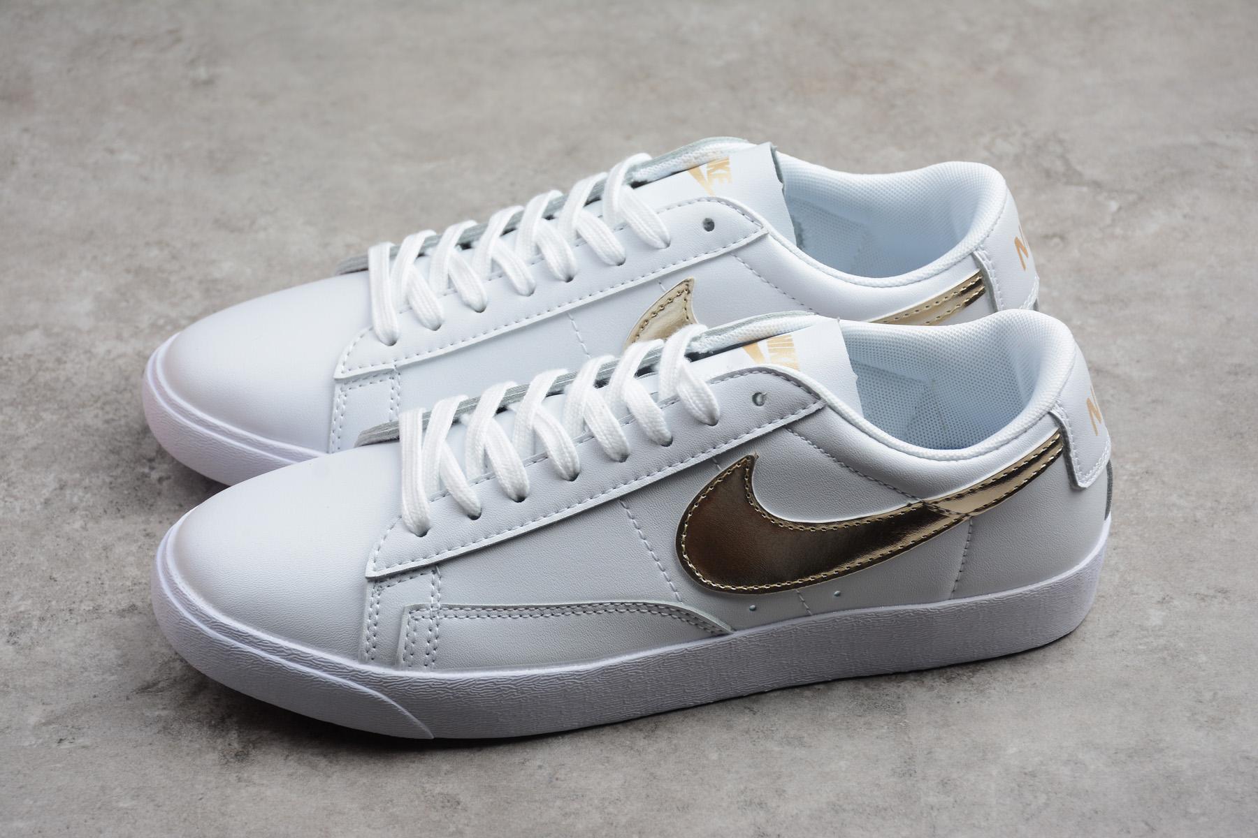 852221caa972b8 Women s Nike Blazer Low LE White Metallic Gold Star AA3961-103