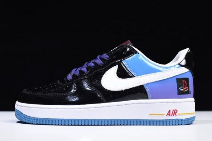"""2670f5b2930a Nike Air Force 1 Low """"Playstation"""" Black Blue White Purple Varsity Red  306096-056"""