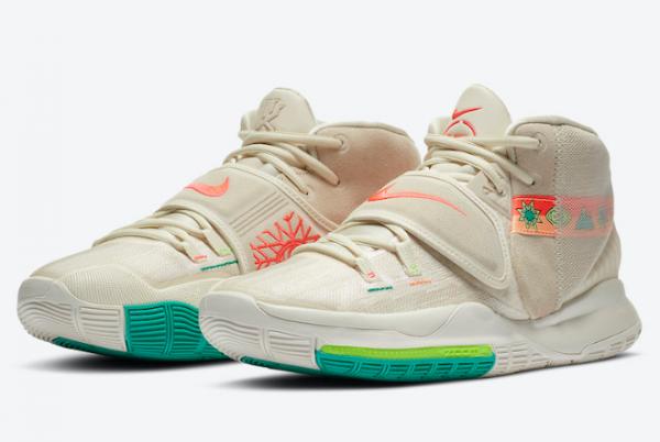 "New Nike Kyrie 6 ""N7"" Light Cream/Sail-Electric Green-Flash Crimson CW1785-200-2"
