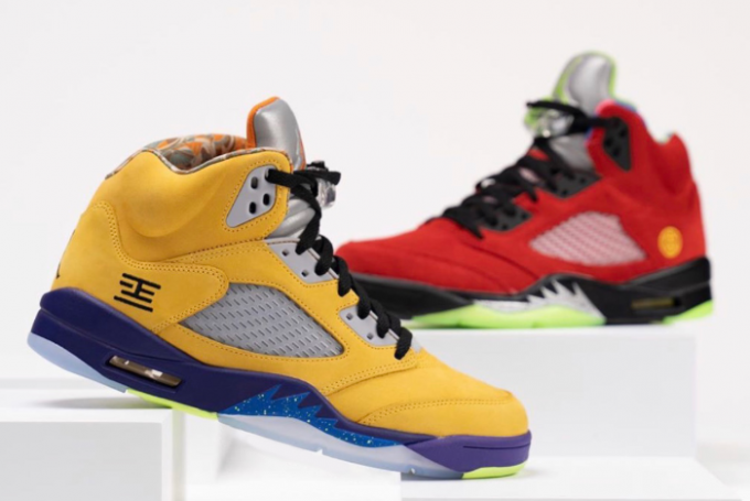"Air Jordan 5 ""What The"" Varsity Maize/Court Purple-Ghost Green-Solar Orange CZ5725-700"