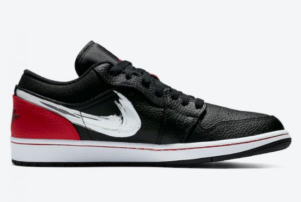 2020 Air Jordan 1 Low Brushstroke Swoosh Black Red DA4659-001 Shoes-1