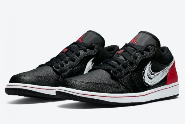 2020 Air Jordan 1 Low Brushstroke Swoosh Black Red DA4659-001 Shoes-2
