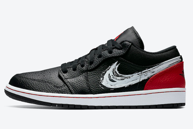 2020 Air Jordan 1 Low Brushstroke Swoosh Black Red DA4659-001 Shoes