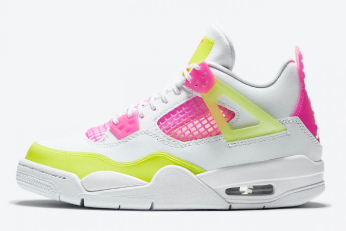 "Air Jordan 4 GS ""Lemon Venom"" White/Lemon Venom-Pink Blast CV7808-100"
