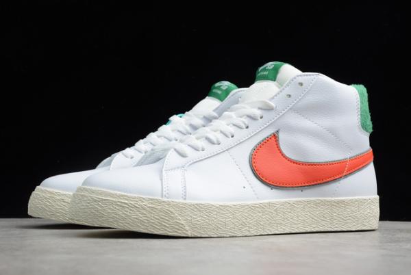 2020 Latest Nike SB Zoom Blazer Mid PRM White/Green-Orange CJ6983-103-2