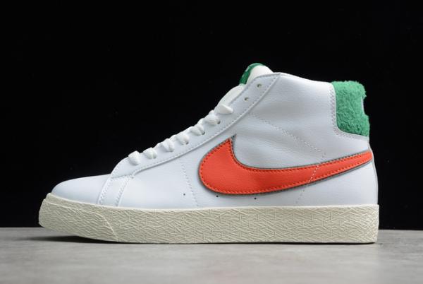 2020 Latest Nike SB Zoom Blazer Mid PRM White/Green-Orange CJ6983-103
