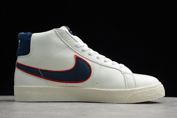 Nike SB Zoom Blazer Mid Premium Beige/Red-Blue Shoes CJ6983-104-1