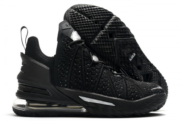 Nike LeBron 18 Black/Silver For Sale-1