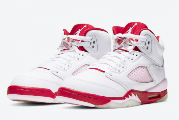 "2020 Air Jordan 5 ""Pink Foam"" White/Pink Foam-Gym Red Shoes To Buy 440892-106-3"