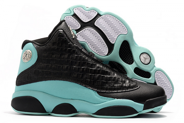"2021 Air Jordan 13 ""Island Green"" Black/Island Green-Metallic Silver Shoes 414571-030-1"