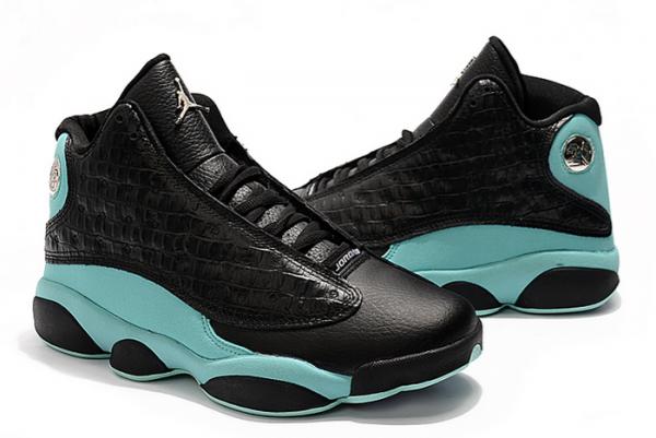 "2021 Air Jordan 13 ""Island Green"" Black/Island Green-Metallic Silver Shoes 414571-030-3"