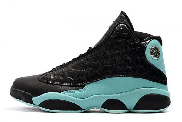 "2021 Air Jordan 13 ""Island Green"" Black/Island Green-Metallic Silver Shoes 414571-030"