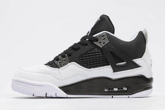 Latest Air Jordan 4 Retro Black/White-Metallic Silver 2214T365