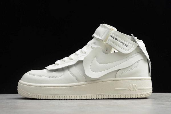"2020 Comme des Garçons x Nike Air Force 1 Mid ""CDG"" White Shoes"
