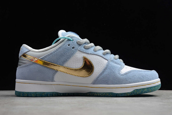 Sean Cliver x Nike Dunk Low SB White/Psychic Blue-Metallic Gold DC9936-100 For Sale-1