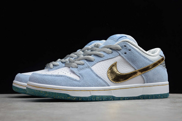 Sean Cliver x Nike Dunk Low SB White/Psychic Blue-Metallic Gold DC9936-100 For Sale-4