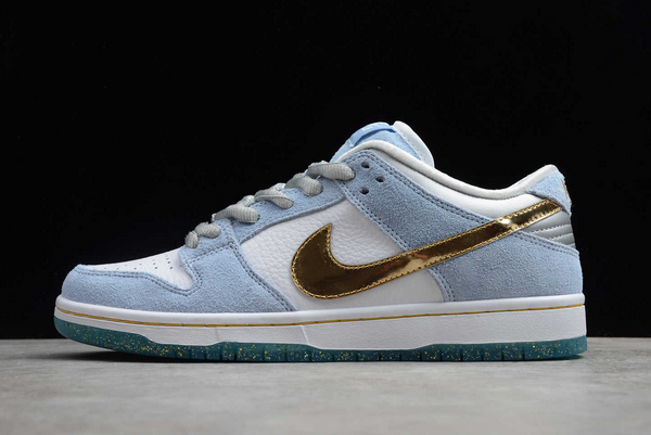Sean Cliver x Nike Dunk Low SB White/Psychic Blue-Metallic Gold DC9936-100 For Sale