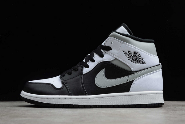 "2020 Air Jordan 1 Mid ""White Shadow"" Black/Medium Grey-White Sale 554724-073"