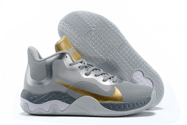 Mens Nike Renew Elevate Wolf Grey/Metallic Silver-Metallic Gold Basketball Shoes-1