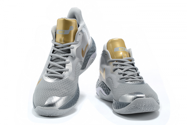 Mens Nike Renew Elevate Wolf Grey/Metallic Silver-Metallic Gold Basketball Shoes-2