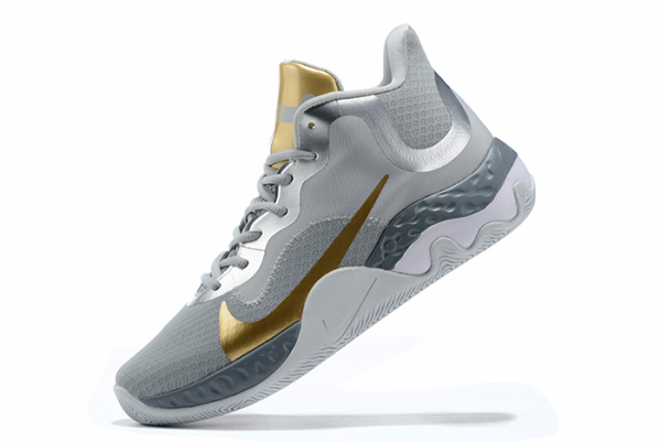Mens Nike Renew Elevate Wolf Grey/Metallic Silver-Metallic Gold Basketball Shoes