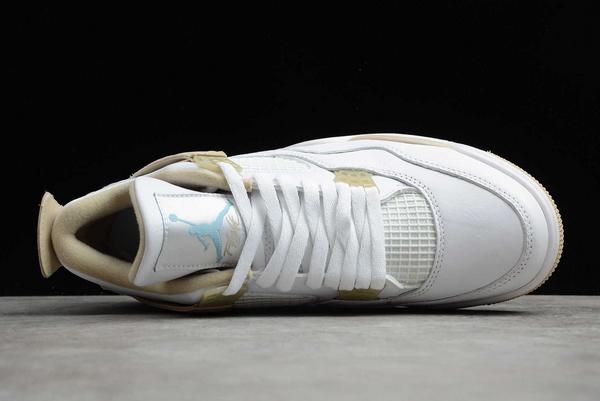 """Air Jordan 4 """"Linen"""" White/Boarder Blue-Light Sand To Buy 487724-118-3"""