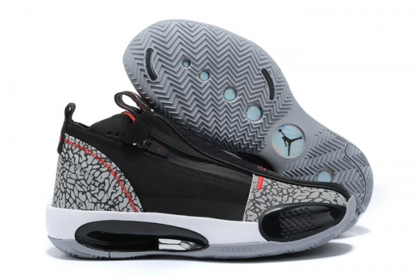 New Air Jordan 34 Black/Cement Grey-Fire Red-White Basketball Shoes For Sale-1