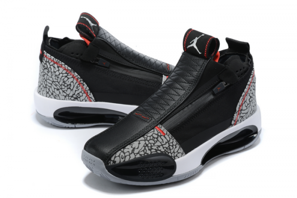 New Air Jordan 34 Black/Cement Grey-Fire Red-White Basketball Shoes For Sale-3