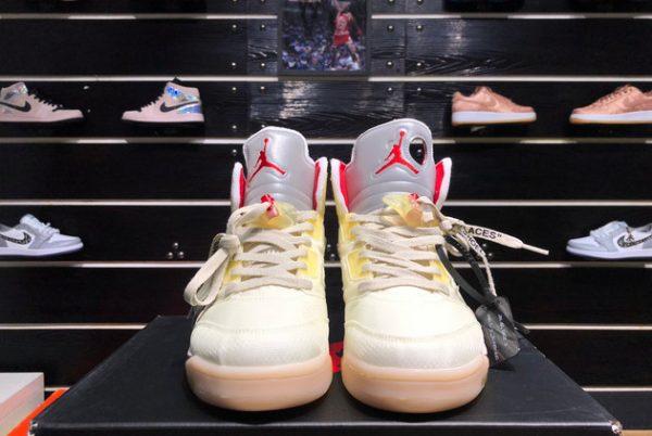 2021 OFF WHITE x Air Jordan 5 White Fire Red CT8480-002-2