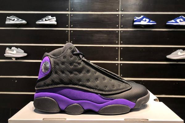 2021 Latest Air Jordan 13 Black/White-Court Purple