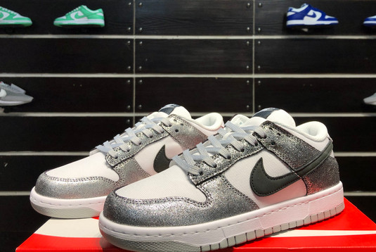 2021 Latest Nike Dunk Low Shimmer Silver Cracked Leather Black White DO5882-001-2