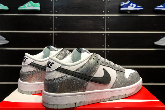 2021 Latest Nike Dunk Low Shimmer Silver Cracked Leather Black White DO5882-001-3