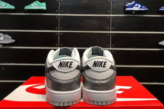 2021 Latest Nike Dunk Low Shimmer Silver Cracked Leather Black White DO5882-001-4
