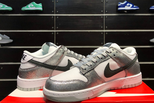 2021 Latest Nike Dunk Low Shimmer Silver Cracked Leather Black White DO5882-001-5
