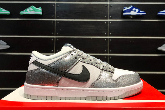 2021 Latest Nike Dunk Low Shimmer Silver Cracked Leather Black White DO5882-001
